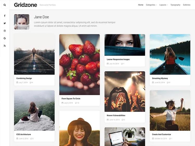 Gridzone, thème pour WordPress